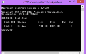 Sử dụng lệnh list disk
