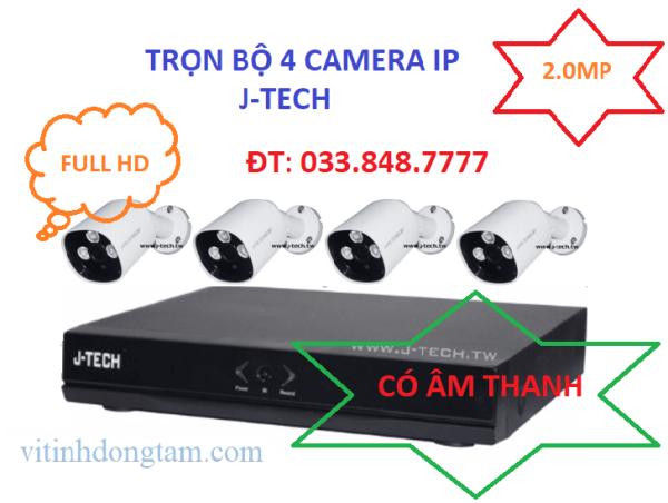Trọn bộ 4 mắt camera IP 2.0