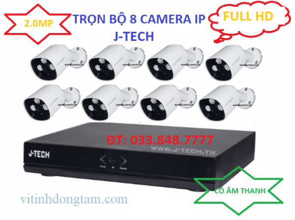 Trọn bộ 8 camera IP 2.0mp
